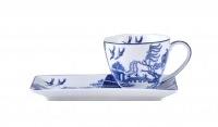 Blue & White Willow 250 cc Cup & Saucer Breakfast Set