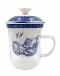 Blue & White Willow 400 cc Glass Cup & Strainer