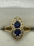 18 ct Yellow Gold Sapphire & Diamond Dress Ring Fluted Design