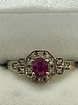 9 ct Yellow Gold Ruby & Diamond Claw Set Ring