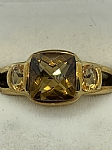 9 ct Yellow Gold Citrine Dress Ring (Open Shoulder Cast Design)