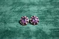 9 ct Yellow Gold Amethyst and Diamond Earrings