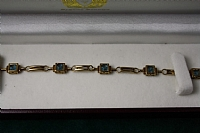 9 ct Yellow Gold Aquamarine Fancy Link Bracelet