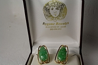 Pair of  18 ct Yellow Gold  Jade Buddha  Earrings