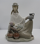 Estate Lladro Woman Holding Baby and Jugs