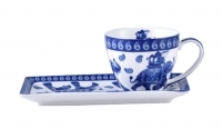 Blue & White Elephant  250cc Cup & Saucer Breakfast Set